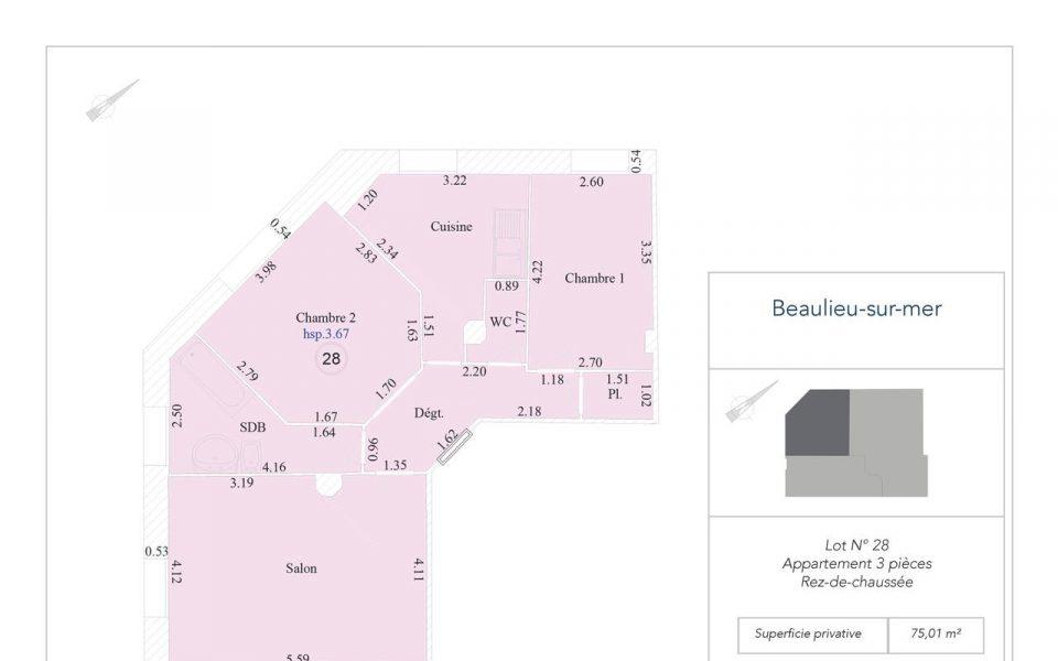 Beaulieu – 3P flat in a small Art Deco condominium : plan