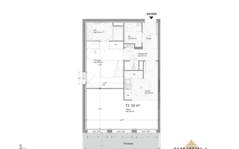 Eze – Spacious One bedroom Apartment of 52 sqm, garden, terrace and sea view : plan