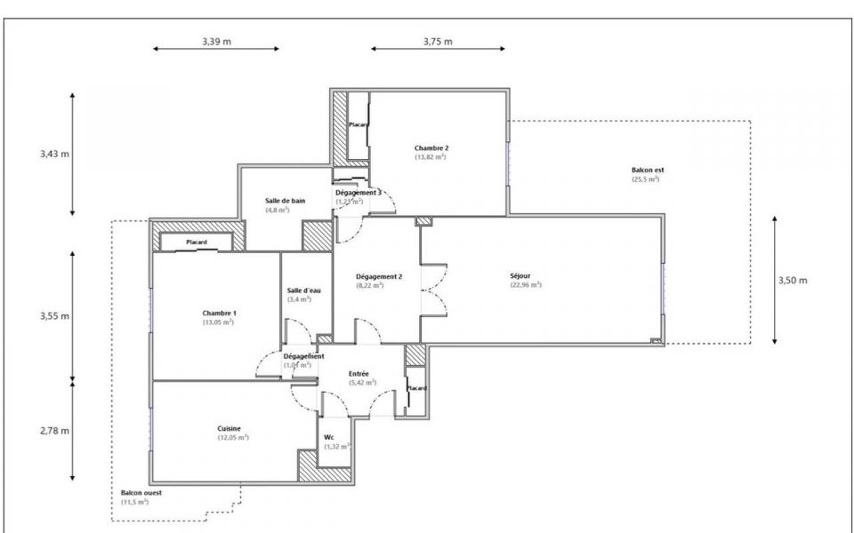 Nice Chambrun – Nice 2 Bedrooms Apartment 87 sqm Sea View in Residence Swimming Pool : plan