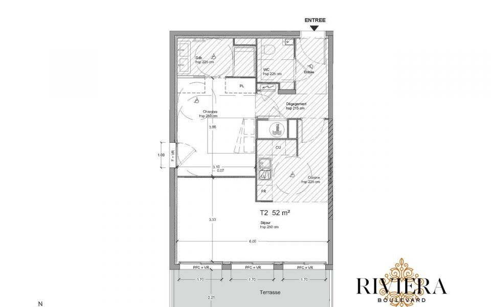 Eze – 2 rooms apartment of 52 m², garden, terrace with sea view : plan