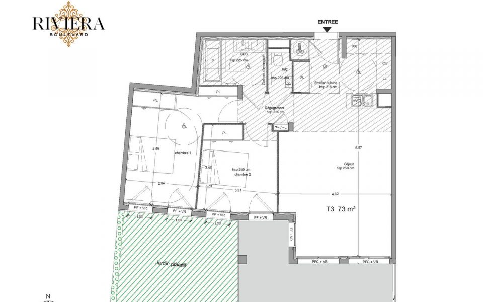 Eze – Sumptuous 3 Rooms of 73 m² with sea view : plan
