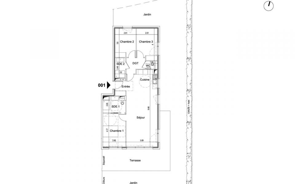 Nice – Bas Gairaut Beautiful 4 Rooms on garden level in residence with garden : plan