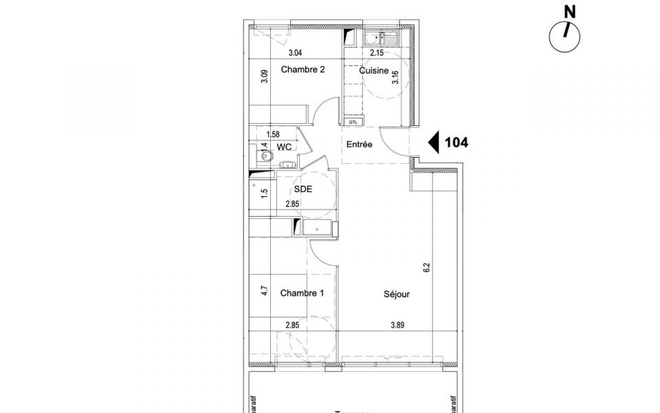 Nice – New 2 Bedrooms Apartment in a Small Residence with Panoramic Sea View : plan