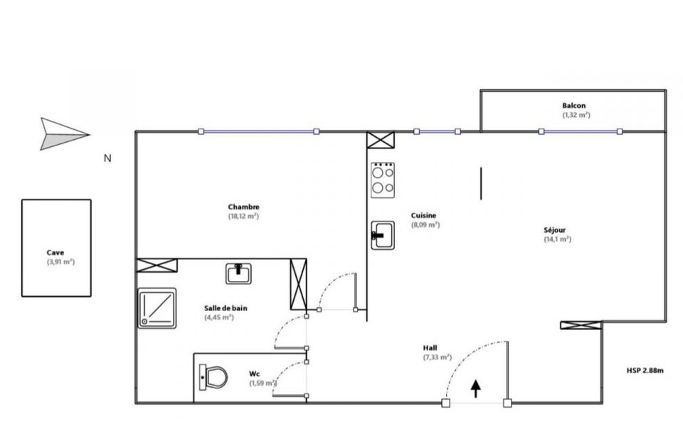 Nice – Center Spacious One bedroom of 54 sm renovated with taste : plan