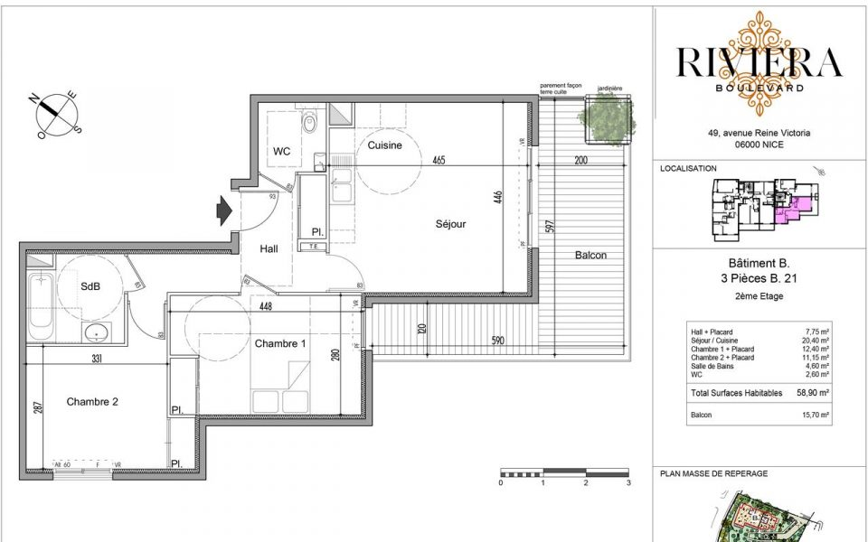 Nice Cimiez  2 Bedrooms apartment : plan