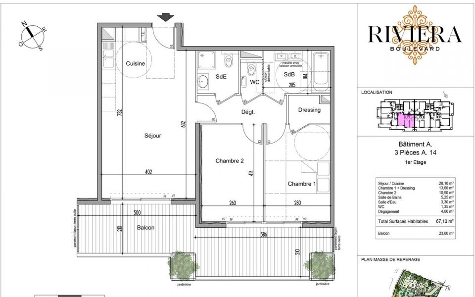 Flat of 3 Rooms with terrace of 23 m² in a quiet environment : plan
