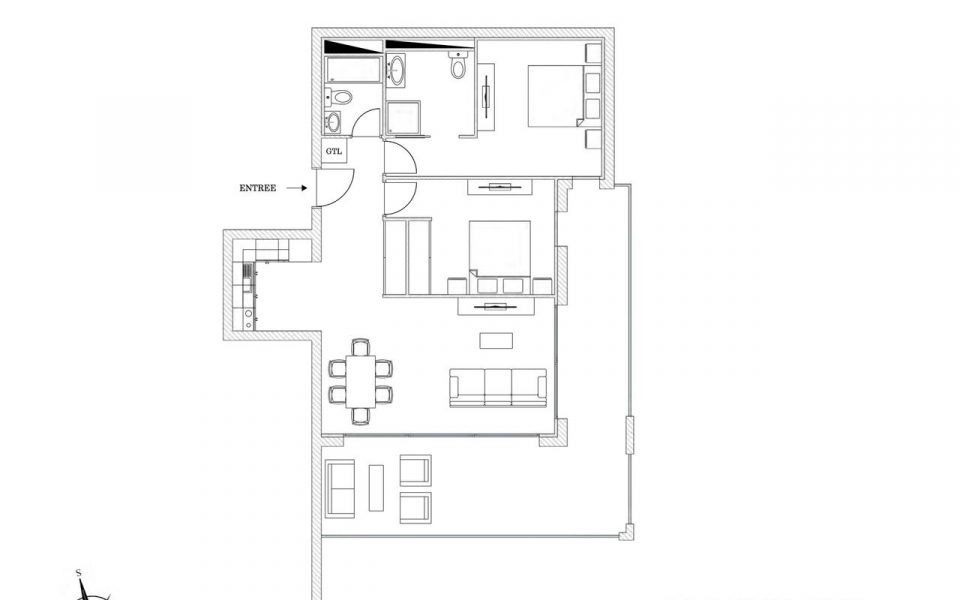 Roquebrune-Cap-Martin 3 Pièces en dernier étage avec vue mer et terrasse (EN) : plan