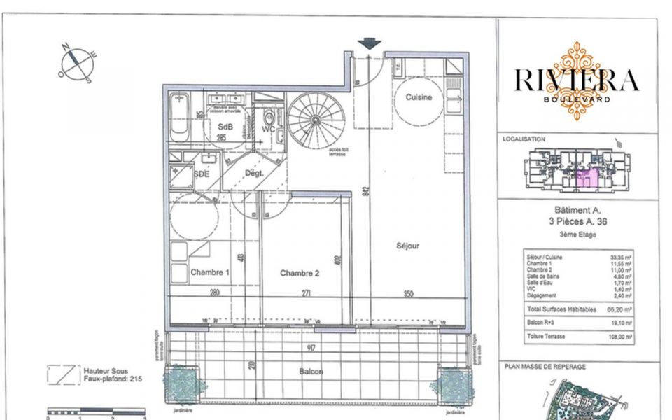 Magnificent 2 Bedrooms Flat with 2 Large Terraces Facing South in Cimiez : plan