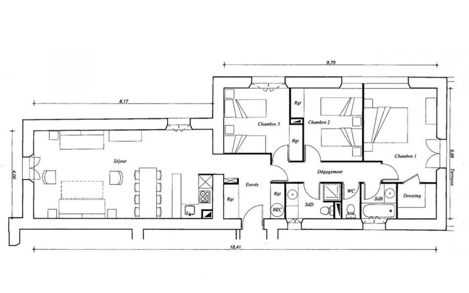 Cannes Croix des Gardes – 3 Bedrooms Apartment 84 sqm in Property with Park : plan
